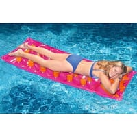 "76"" Inflatable Pink and Orange 18-Pocket French Style Swimming Pool Air Mattress"