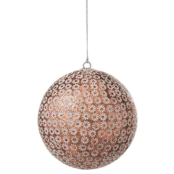 "Copper Glittered with White Sunflowers Shatterproof Ball Christmas Ornament 3.5"" (90mm)"