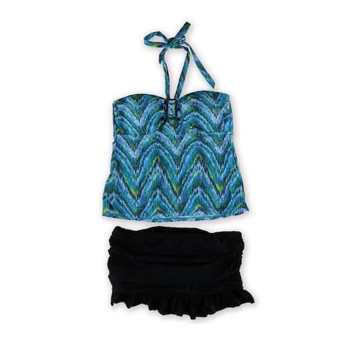 Island Escape Womens Patterned Ruffled Skirtini 2 Piece Bandeau, Blue, 14
