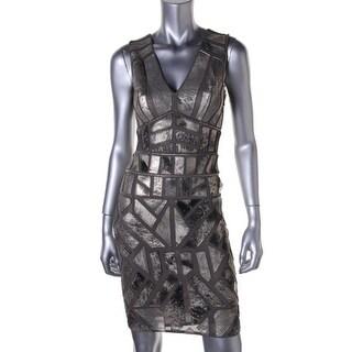 Renzo and Kai Womens Metallic Leather Cocktail Dress