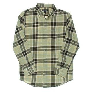 John Ashford Mens Plaid Cotton Button-Down Shirt