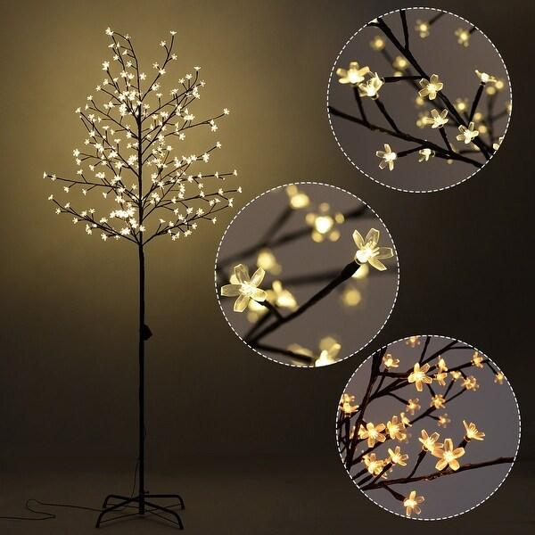 Costway Christmas Xmas Cherry Blossom LED Tree Light Floor Lamp Holiday Decor Warm White - black