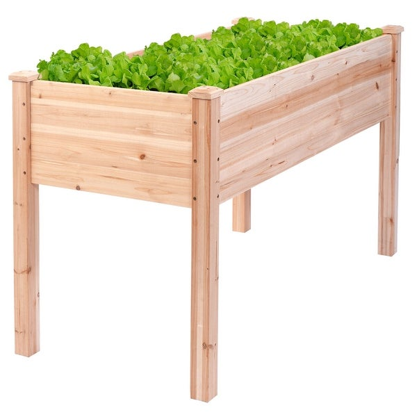 Costway Wooden Raised Vegetable Garden Bed Elevated Planter Kit Grow Gardening Vegetable - Wood