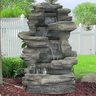 Superieur Outdoor Electric Stacked Shale Patio Garden Water Fountain With LED Lights