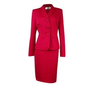 Le Suit Women's Textured 3-Button Skirt Suit