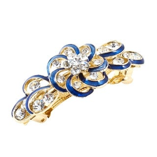 Unique Bargains Woman Gold Tone Metal Blue Flower Plastic Rhinestone Hairpin Hair Clip Barrette
