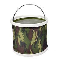 "Unique Bargains 9.6"" x 9"" Nylon Cylinder Shape11L Portable Folding Water Bucket Camping Outdoor Fishing Army Green"