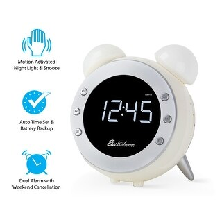 Electrohome Retro Alarm Clock Radio with Motion Activated Night Light and Snooze (CR35W)
