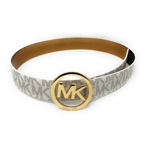 Michael Kors Signature Monogram MK Logo Round Buckle Women's Belt 553342C