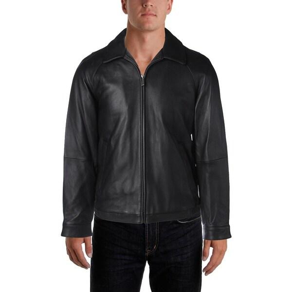 Nautica Mens Bomber Jacket Leather Winter