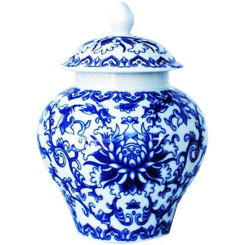 Ancient Asian Style Blue and White Porcelain Helmet-shaped Temple Jar