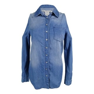 American Rag Women's Cold Shoulder Denim Tunic Shirt - millie wash (Option: Xxs)|https://ak1.ostkcdn.com/images/products/is/images/direct/3d90fb4812da9f2412c5329b704882e19e75936a/American-Rag-Women%27s-Cold-Shoulder-Denim-Tunic-Shirt.jpg?impolicy=medium