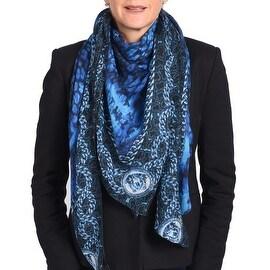 Versace Printed Silk Scarf Blue