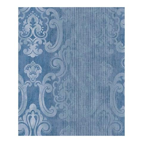 Ariana Dark Blue Striped Damask Wallpaper - 21 x 396 x 0.025