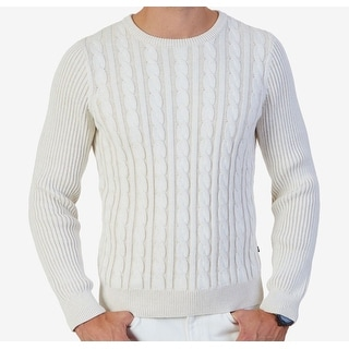 Nautica NEW White Mens Size Medium M Crewneck Cable-Knit Sweater
