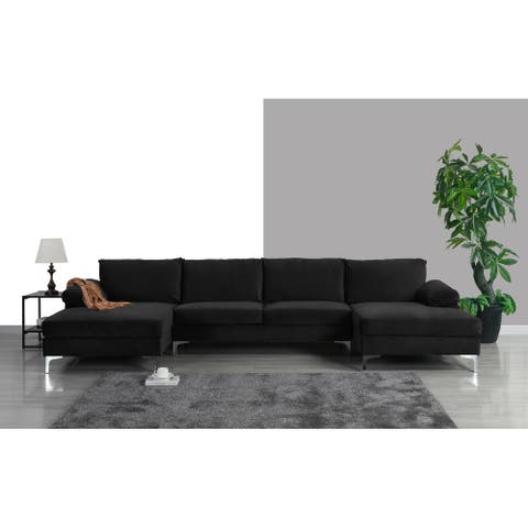 Modern XL Sectional Sofa U-Shape, Velvet Upholstery