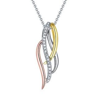 Prism Jewel 0.05CT G-H/I1 Natural Diamond Uniqe Tri-Color Gold Pendant - White