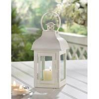 Gable Small White Candle Lantern