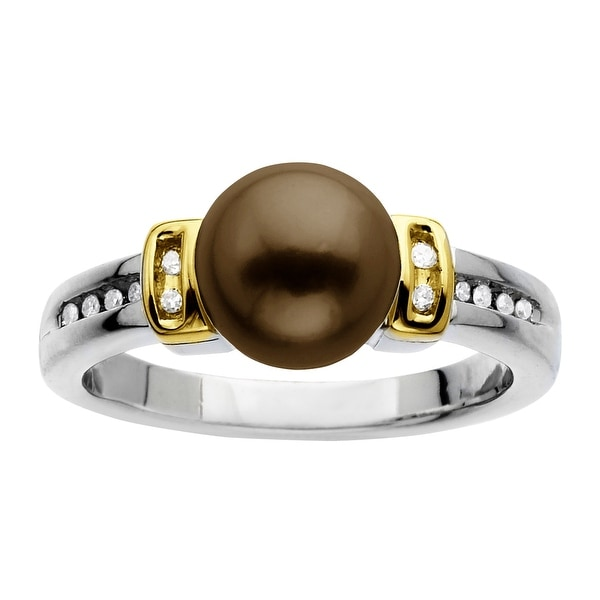 8mm Brown Freshwater Pearl Ring with Diamonds in Sterling Silver & 14K Gold - Brown