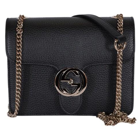 "Gucci Women's Black Leather 510304 Interlocking GG Crossbody Purse Handbag - 7.75"" x 6"" x 3"""