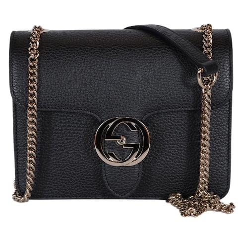 d62e19b8ca1a Gucci Women's Black Leather 510304 Interlocking GG Crossbody Purse Handbag  - 7.75