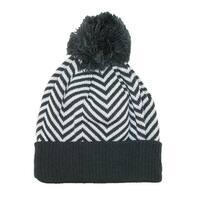 CTM® Women's Chevron Pom Cuffed Knit Beanie Hat