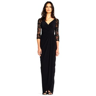 Adrianna Papell Women's Draped Column Gown with Sequin Lace 3/4 sleeves
