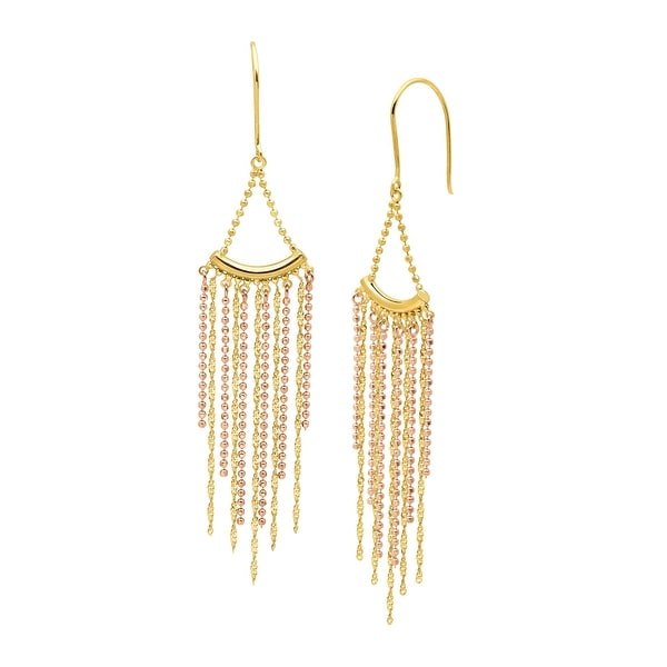 Beaded Fringe Drop Earrings in 18K Two-Tone Gold over Sterling Silver