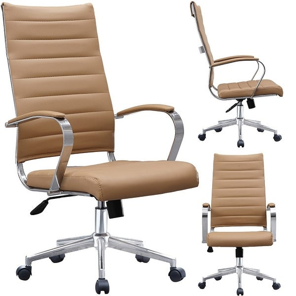 2xhome -Modern Tan High Back Office Chair Ribbed PU Leather Swivel Tilt Conference Room Computer Desk Cushion Seat Boss