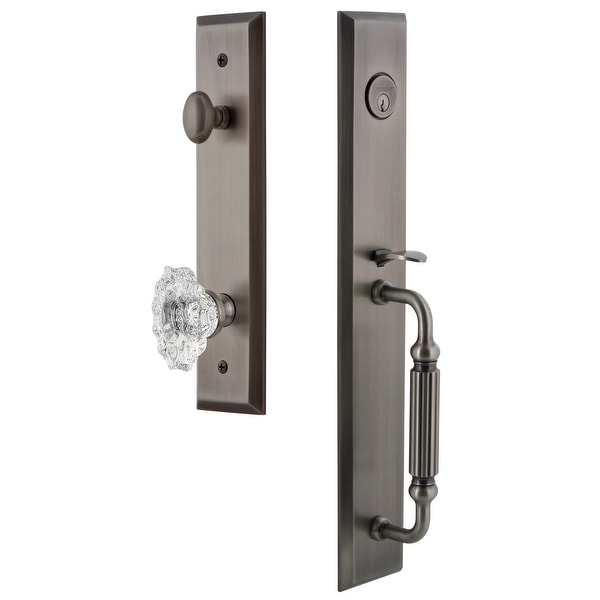 "Grandeur FAVFGRBIA_ESET_234 Fifth Avenue Solid Brass Rose Keyed Entry Single Cylinder Full Plate ""F"" Grip Handleset with"