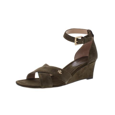 Lauren Ralph Lauren Womens Erinn Wedges Sandals Suede - Olive - 9 Medium (B,M)