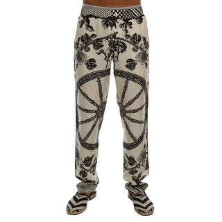Dolce & Gabbana Dolce & Gabbana White Carretto Floral Print Silk Pants