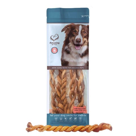 Amazing Dog Treats Lamb Pizzle Twists 8 - 10 inch 5 Pack