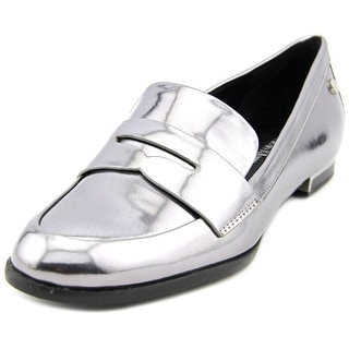 Calvin Klein Celia Women Round Toe Patent Leather Silver Loafer