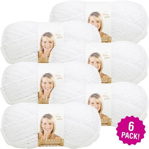 Lion Brand Vanna's Glamour Yarn - 6/Pk-Diamond - White