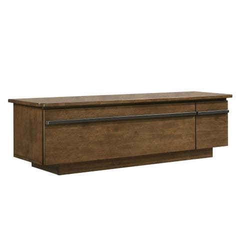 Saltoro Sherpi 59 Inch Wooden Tv Stand With Drawer And Flip Down Panel Storage, Brown