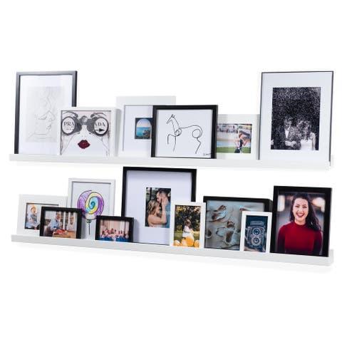 Wallniture Denver 56 Inch Floating Shelves, White Picture Ledge (Set of 2)