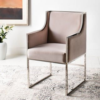 Link to Safavieh Couture Arteaga Almond Velvet Commercial Grade Arm Chair Similar Items in Accent Chairs