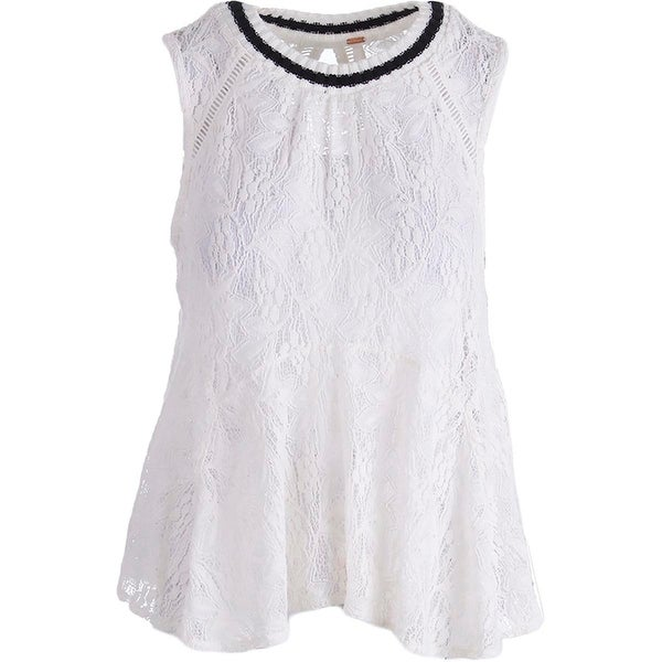 Free People Womens Tank Top Lace Ribbed Collar