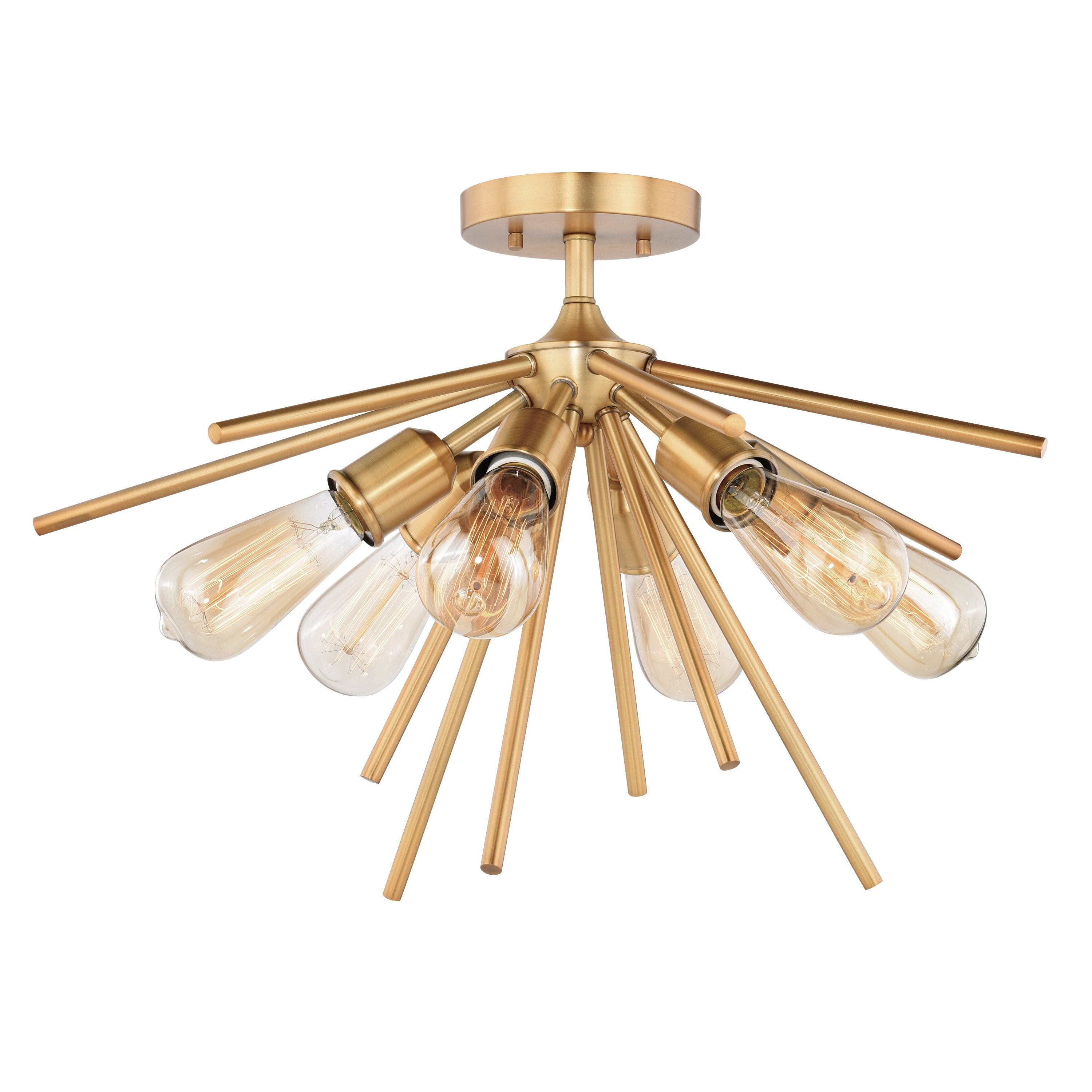 Image of: Shop Black Friday Deals On Estelle 24 In W Brass Mid Century Modern Sputnik Semi Flush Mount Ceiling Light 24 In W X 14 5 In H X 24 In D Overstock 20985871