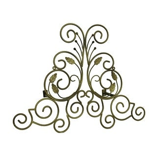 Bronze Finish Leaf Scroll Metal Drapery Crown/Wall Plaque 23 in.
