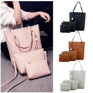 Ladies Leather Handbag Features A Tassel Shoulder Bag, A Tote And A Purse