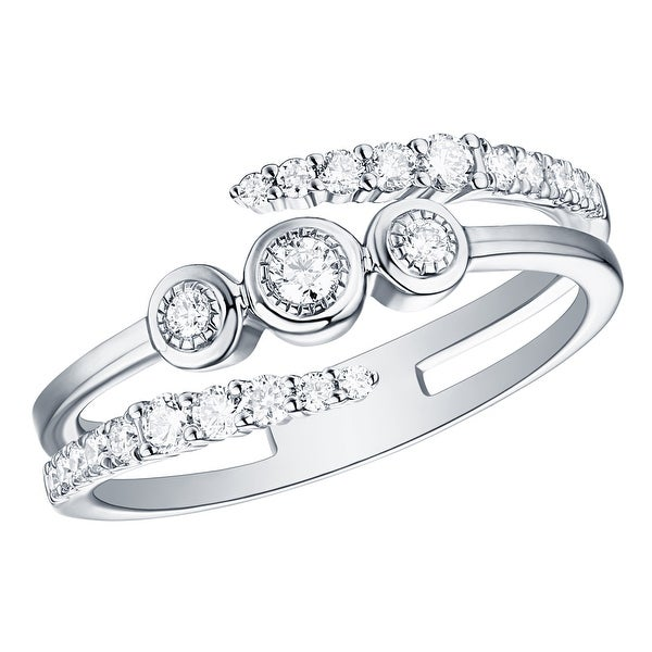 Prism Jewel 0.20 Carat G-H//I1 Round Natural Three Diamond Ring
