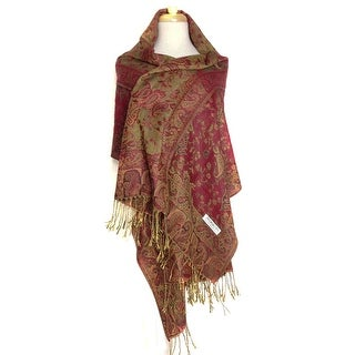 "Reversible Paisley Pashmina Shawl Wrap Elegant Colors - 72"" x 27"""