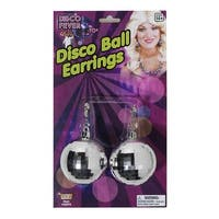 Disco Ball Costume Jewelry Earrings - Silver