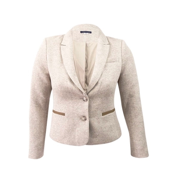 a1c3d75fe4f53 Shop Tommy Hilfiger Women's Two-Button Elbow-Patch Blazer (6, Latte) -  Latte - 6 - Free Shipping Today - Overstock - 25970313