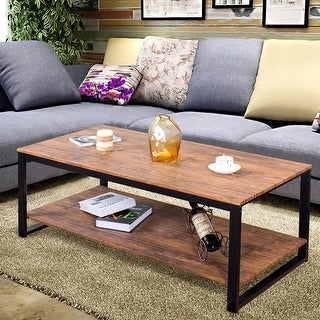 Gymax Metal Frame Rectangle Coffee Table Accent Cocktail Table Living Room Furniture
