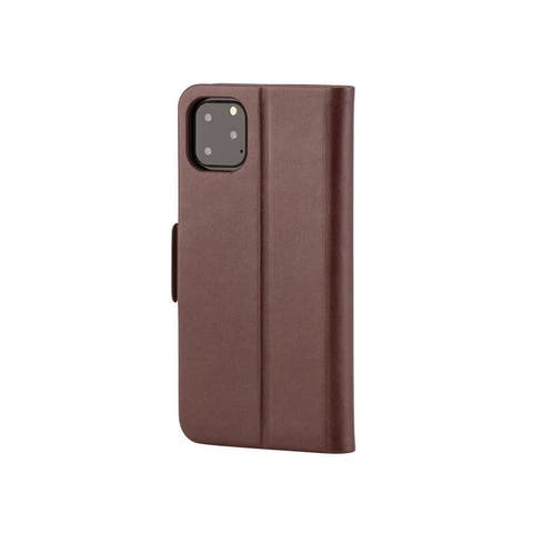Monoprice iPhone 11 Pro Max PU Leather Wallet Case - Chocolate, with Card Slots