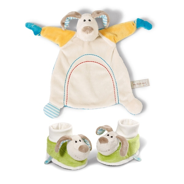 My First Nici Comforter Plush Dog Blanket and Rattling Booties Set