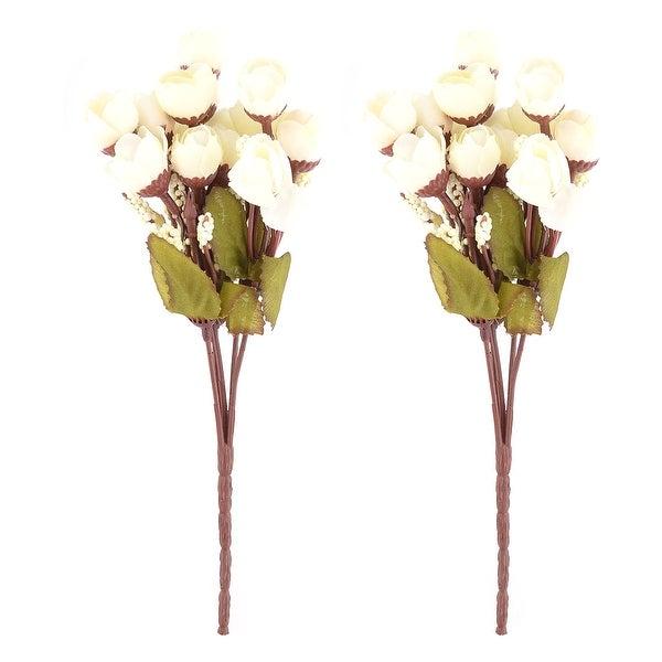 Garden Handmade Artificial Flower Bouquet Decoration Off White 24cm Height 2pcs